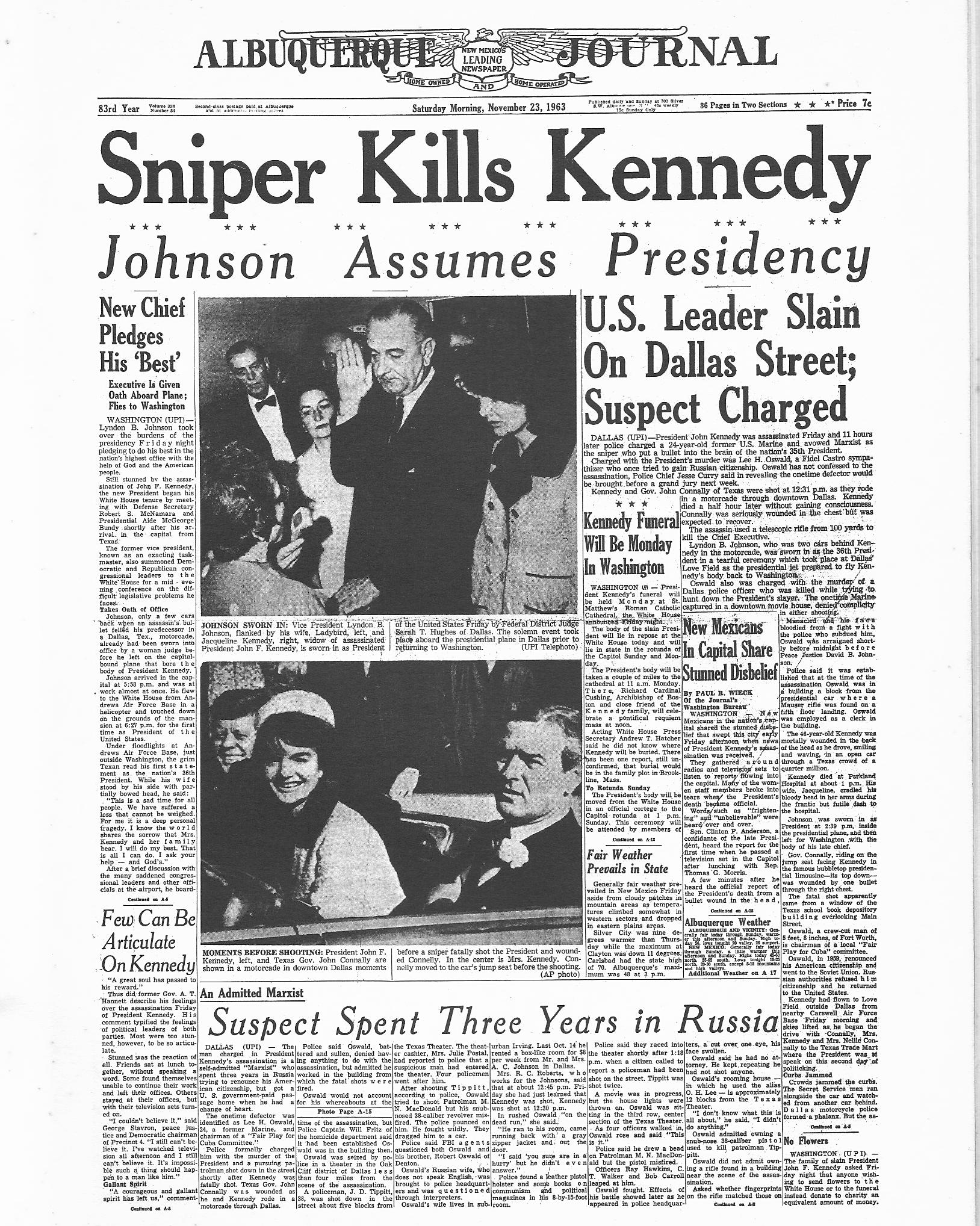 UPI Newspaper Fronts from Day and Days Following JFK's ...