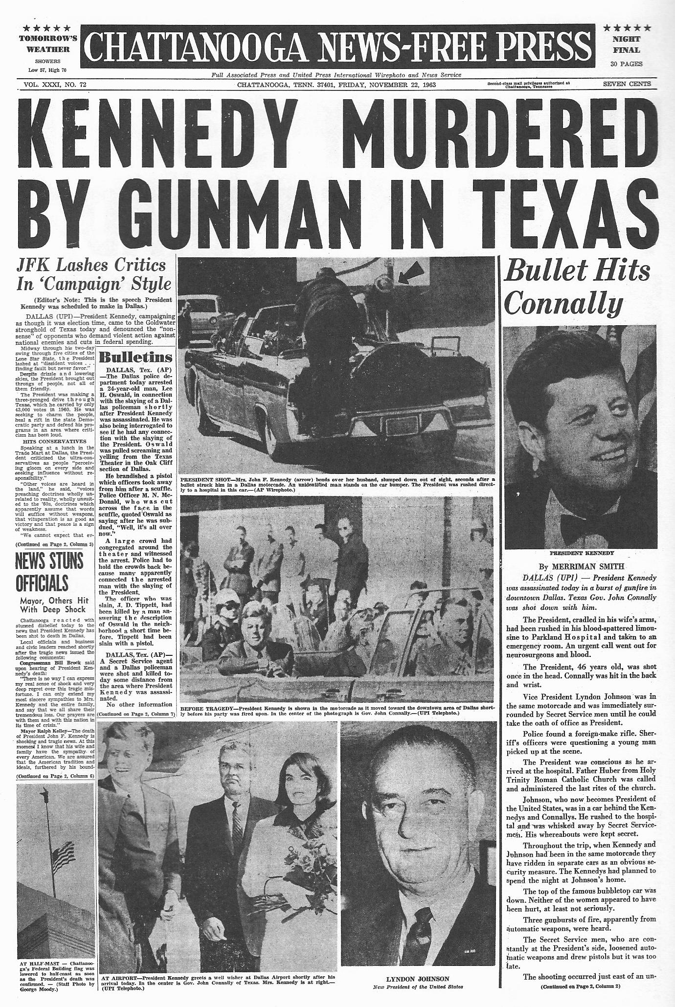 upi newspaper fronts from day and days following jfk s assassination chattanooga news press