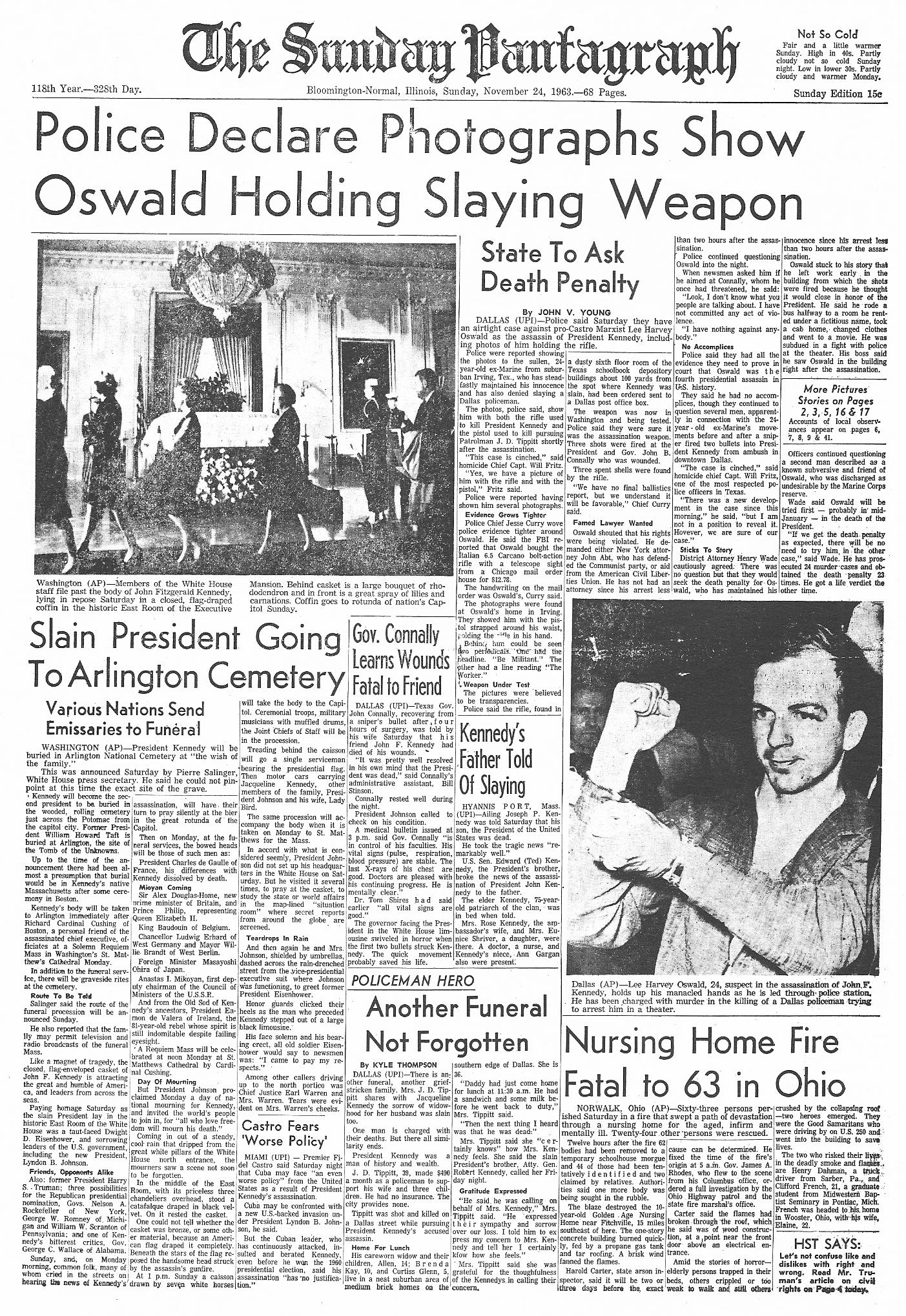 upi newspaper fronts from day and days following jfk s assassination the sunday pantagraph